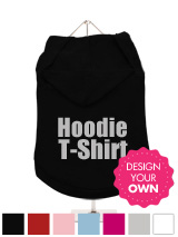 Dog Hoodie / T-Shirt - A fun, funky and distinct dog tank t-shirt with hood. Made from high quality, fine knit gauge, 100% cotton and features a velvety-feel cotton-flock ''xxxDesignxxx'' design.