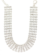 5 Row Crystal Dog Necklace - This amazing necklace contains between 175 to 210 Swarovski Crystals in 5 rows and is finished with a Paw pendant clasp also in Crystal. (X-Small: 175 Crystals / Small: 190 Crystals / Medium: 210 Crystals). This creation is all about being bold, glamorous and being seen.