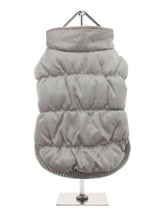 Grey Puffa Ski Jacket - A gorgeous grey puffa ski jacket. The arms and hem are elasticised to ensure the best possible fit. While, <br />the velcro fastening makes it easy to take on and off your pup. The soft grey fleece lining will keep your pup <br />cosy and warm.