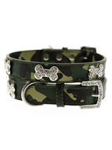 Green Camouflage Diamante Bone Collar - Bling meets Action Dog! This camouflage leather collar with a stitched edging has a crystal encrusted buckle with three bling sparkling diamante bones and a sparkling diamante charm to complete the look. This has to be the best of both worlds as bling melds with macho!S-M Width: 14mmM-L Width: 19mmL...