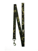 Green Camouflage Diamante Bone Lead - Green camouflage leather lead with a silver clip and finished with a diamante bone.S-M Width: 14mmM-L Width: 19mmL-XL Width: 25mmLead Length: 1.08m / 48''