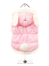 Pink Quilted Coat with Hood and Ears - A practical and fun quilted coat in beautiful baby pink, fleece lined to keep you pup snug and warm and it is trimmed in faux fur along the hood and hem. Three poppers on the underbelly allow for fast and easy closure and makes it easy for you to take the coat on and off your pup. By the way, did we...