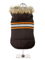 Brown Bodywarmer with Fur Trimmed Hood - This is a water resistant hooded bodywarmer in brown with a nice safety feature, it has three stripes across the body with the grey stripe being hi-visibility which enables your pup to be seen in the dark, great for those dark mornings and evenings, the hood is finished in faux fur and the fleece li...