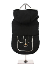 Black / White Fleece-Lined Bodywarmer with Hood - This sleeveless hooded  bodywarmer in jet black is just the thing for slipping on and off easily, it is lined with a contrasting snow white fleece to keep your pup snug and warm. Four poppers on the underbelly allow for fast and easy closure and makes it easy for you to take the coat on and off your...
