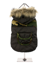 Camouflage Parka with Fur Trimmed Hood - This is a water resistant military style two tone camouflage parka, this camouflage style is ideal for walks in the park for the more adventurous pet or even the pet that likes to blend into the background. The hood is trimmed with faux fur while the lining is a gold quilted satin, truly luxurious....