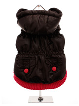 Black Quilted Coat with Hood - This cosy coat is ideal for out walking in the colder weather. This stylish sleek black coat is trimmed with a fuschia pink elasticised ribbed hem for a nice neat fit with two matching fuschia pink buttons on the outside faux pockets. The soft fleece lining will keep your pup snug and warm.