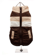 Brown Quilted Gilet - This trendy gilet is different to many of the dog clothes that are available. Why? Well, it has a zip fastener on top. This gives the gilet a real authentic look, while making it very easy to put on and take off your pup. The brown, white and tan colours, along with the two faux pockets make it a mu...
