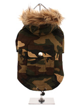 Forest Camouflage Parka - A military style camouflage parka. this forest style is ideal for walks in the park for the adventurous pet. The hood is trimmed with faux fur, while the pocket on the back is perfect for those all important treats. The drawstring hem gives the Camouflage Parka a neat fit that will keep the cold and...