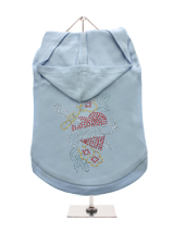 GlamourGlitz Love Heart Dog Hoodie - Exclusive GlamourGlitz 100% Cotton Hoodie. With a symbolic heart tattoo design representing love and courage. Crafted with Red, Green, Silver and Gold Rhinestuds that catch a sparkle in the light. Wear on it's own or match with a GlamourGlitz ''Mommy and Me'' Women's T-Shirt to complete the look.