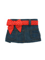 Denim Mini Skirt / Red Polka-Dot Belt
