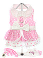 Baby Pink Polka Dot Harness Dress, Lead & Hat